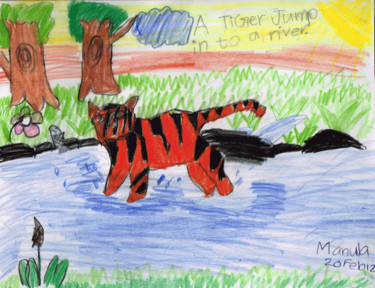 """Painting titled """"Tiger Jump in to Ri…"""" by Manula Hewamanage, Original Art,"""