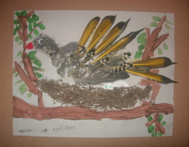 """Painting titled """"Bird in the Nest"""" by Manula Hewamanage, Original Art,"""