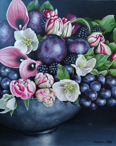 """Painting titled """"Fruits and Flowers"""" by Mariam Mary-Ellen, Original Art, Oil"""