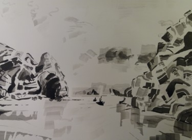 """Painting titled """"Along Bay 1"""" by Marc Declercq, Original Art, Ink"""