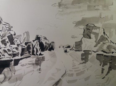 """Painting titled """"Along Bay 2"""" by Marc Declercq, Original Art, Ink"""