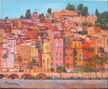 """Painting titled """"Vue de Menton"""" by Marc Forestier, Original Art, Oil Mounted on Stretcher frame"""