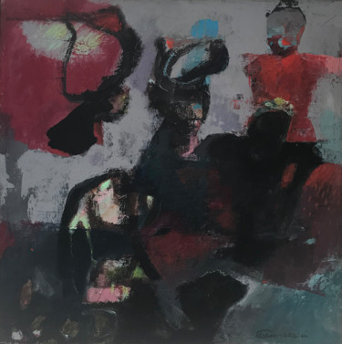 """Painting titled """"The Clowns"""" by Marcello Carrozzini, Original Art, Acrylic Mounted on Stretcher frame"""