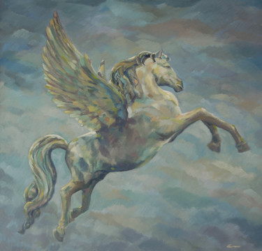 """Painting titled """"Pegasus"""" by Marcello Carrozzini, Original Art, Oil Mounted on Stretcher frame"""