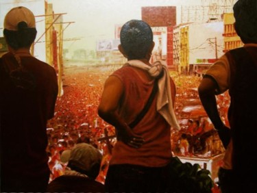 """Painting titled """"""""Abang"""" Waiting"""" by Marcial, Original Art,"""