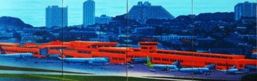 """Painting titled """"""""Guam Airport"""""""" by Marcial, Original Art,"""