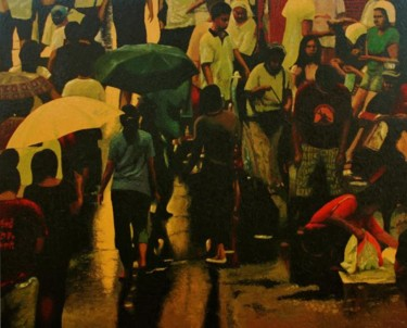 """Painting titled """"""""Defying Starvation"""""""" by Marcial, Original Art,"""