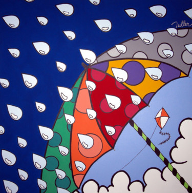 """Painting titled """"Sol e Chuva"""" by Tuller, Original Art, Acrylic Mounted on Stretcher frame"""