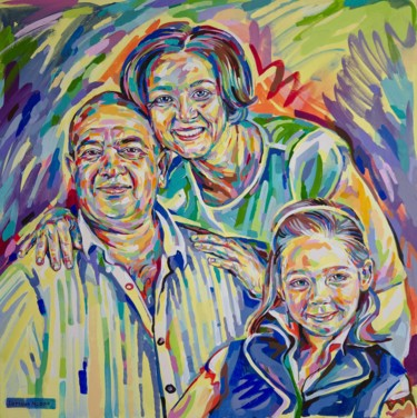 """Painting titled """"Family portrait for…"""" by Maria Iurkova, Original Art, Oil Mounted on Stretcher frame"""