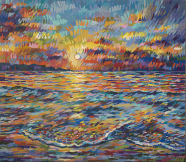 """Painting titled """"Sunny beach sunset"""" by Maria Iurkova, Original Art, Acrylic Mounted on Stretcher frame"""