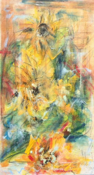 """Painting titled """"Sunflowers"""" by Maria Emilov, Original Art, Oil Mounted on Stretcher frame"""