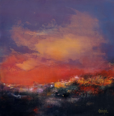 """Painting titled """"Sun rise"""" by Marianne Quinzin, Original Art, Acrylic Mounted on Stretcher frame"""