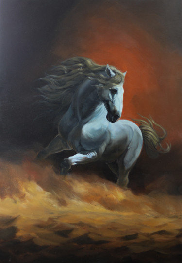 """Painting titled """"Caballo Andaluz"""" by Mariano, Original Art, Acrylic"""
