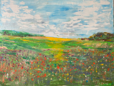 """Painting titled """"SUMMER MEADOW"""" by Marie Kantorová Selmiová, Original Art, Oil Mounted on Stretcher frame"""