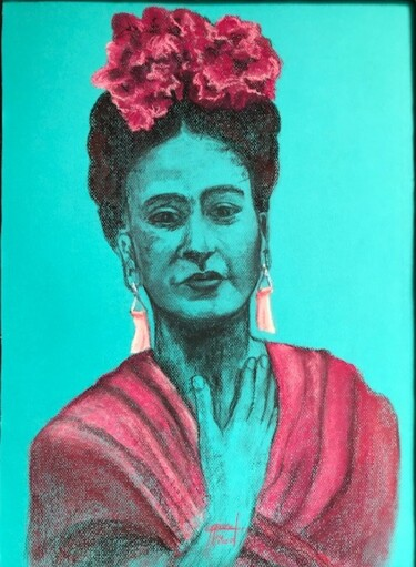"""Painting titled """"Ma Belle Frida"""" by Marie-Christine Rivel, Original Art, Pastel"""