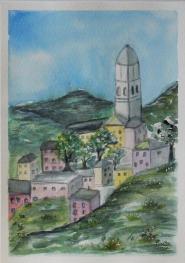Architecture Painting, watercolor, naive art, artwork by Marie-José Longuet