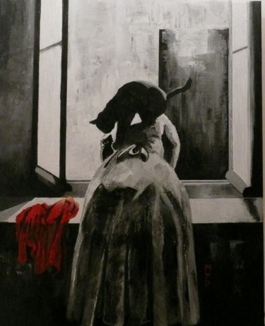 """Painting titled """"LE CHAT"""" by Myp, Original Art, Acrylic"""