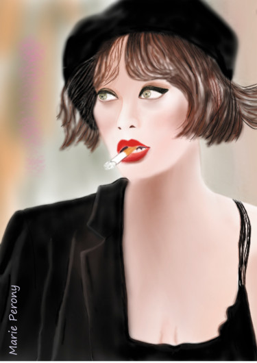 """Painting titled """"Femme au beret"""" by Marie Perony, Original Art, Digital Painting"""