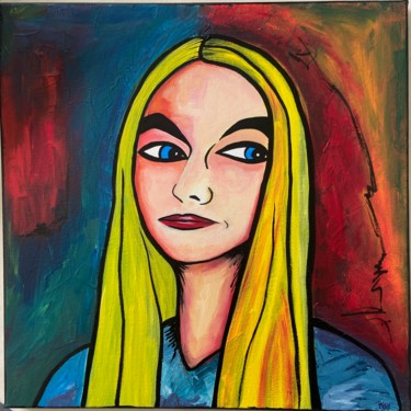 """Painting titled """"Portrait"""" by Marie Régy, Original Art, Acrylic Mounted on Stretcher frame"""