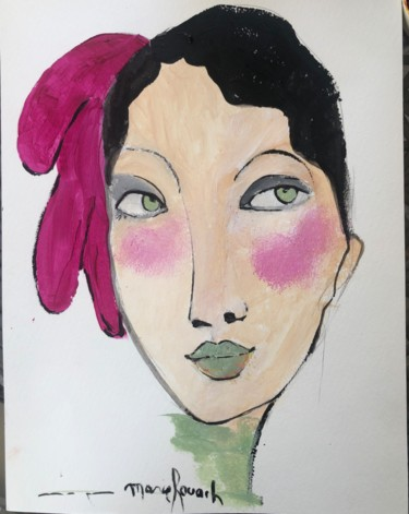 """Painting titled """"Belle au ruban rose"""" by Marie Rouach, Original Art, Acrylic"""
