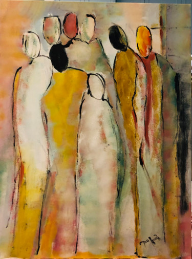 """Painting titled """"Abstrait personnage…"""" by Marie Rouach, Original Art, Acrylic"""
