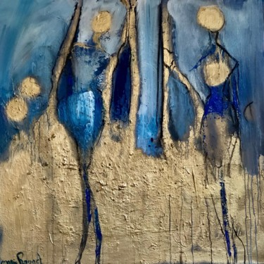 """Painting titled """"Blue and gold perso…"""" by Marie Rouach, Original Art, Acrylic"""