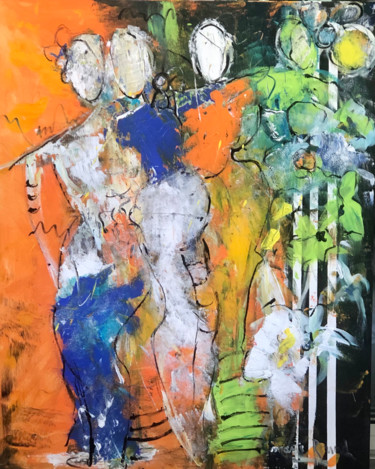 """Painting titled """"Abstrait femmes"""" by Marie Rouach, Original Art, Acrylic"""