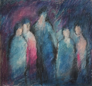 """Painting titled """"Silhouettes"""" by Noska, Original Art, Pastel"""