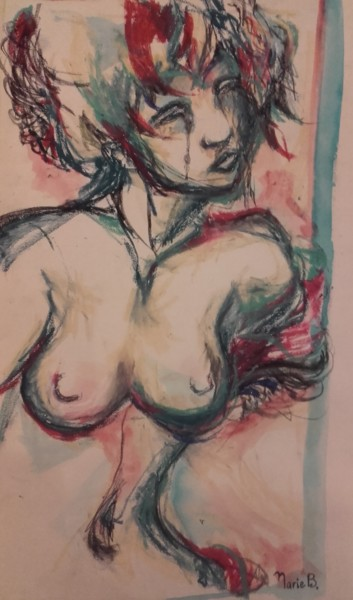 """Drawing titled """"Crying"""" by Marie B., Original Art, Chalk"""