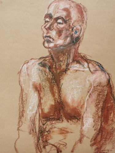 Men Drawing, pastel, expressionism, artwork by Marijo Ponce Fest