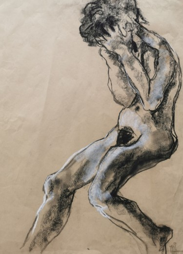 Feminine Drawing, charcoal, expressionism, artwork by Marijo Ponce Fest