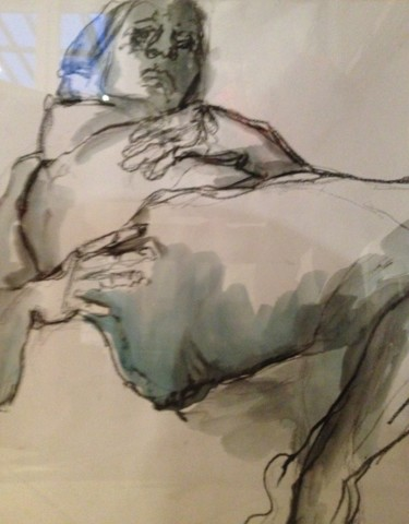 """Drawing titled """"Tristesse - Sadness"""" by Marijo Ponce Fest, Original Art, Acrylic"""