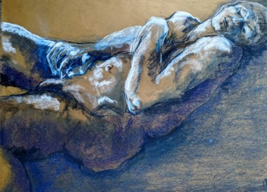 """Drawing titled """"Paisible - Peaceful"""" by Marijo Ponce Fest, Original Art, Pastel"""