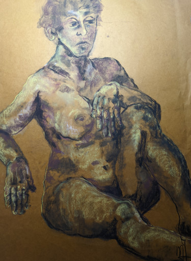 """Drawing titled """"Claire obscure"""" by Marijo Ponce Fest, Original Art, Pastel"""