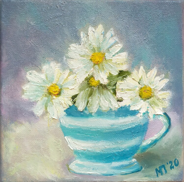 """Painting titled """"Chamomile in a stri…"""" by Marina Petrova, Original Art, Oil"""