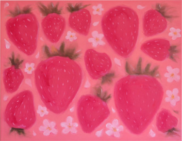 """Painting titled """"Strawberry Rain"""" by Marina Rusalka, Original Art, Oil Mounted on Stretcher frame"""