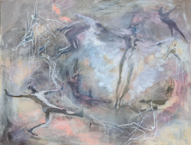 """Painting titled """"Birth of the Phoenix"""" by Marina Shkarupa, Original Art, Oil Mounted on Stretcher frame"""