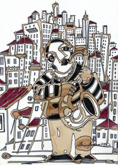 """Painting titled """"saxofonista"""" by Mário Fresco, Original Art, Architecture"""