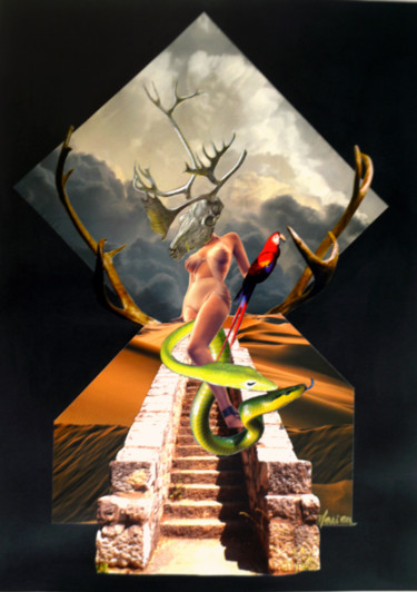 """Collages titled """"Cernunnos was a wom…"""" by Marion Revoyre, Original Art, Collages"""