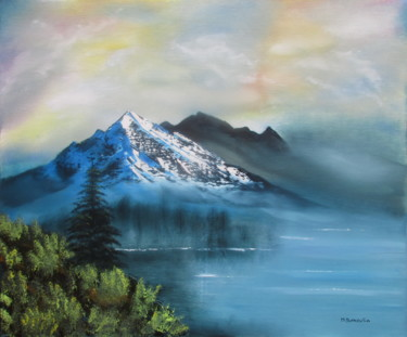Mountainscape Painting, oil, impressionism, artwork by Martial Dumoulin