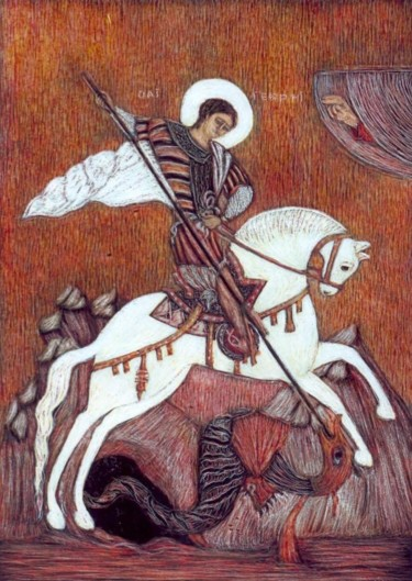 """Painting titled """"St. George the Vict…"""" by Martin Ashkhatoev, Original Art, Acrylic"""