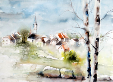 Landscape Painting, watercolor, impressionism, artwork by Martine Saint Ellier