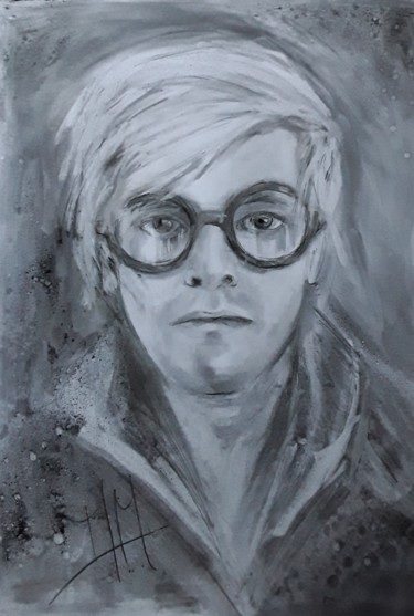 """Drawing titled """"David Hockney"""" by Martins Marie Pascale, Original Art, Charcoal"""