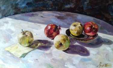 """Painting titled """"Sunny apples"""" by Maria Bel, Original Art, Oil Mounted on Cardboard"""