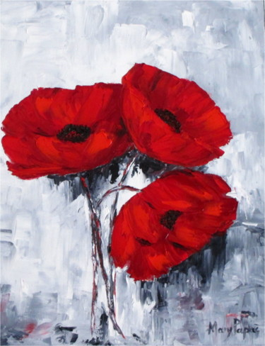 """Painting titled """"Poppies 4U"""" by Mary Papas, Original Art, Oil"""