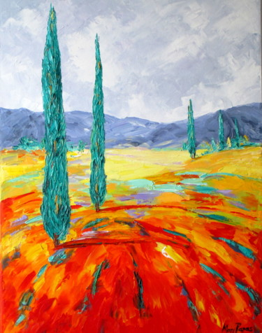 """Painting titled """"Mediterranean Lands…"""" by Mary Papas, Original Art, Oil"""