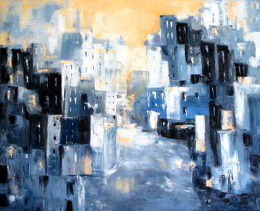 """Painting titled """"City Street"""" by Mary Papas, Original Art, Oil"""
