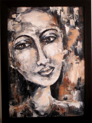 """Painting titled """"Anonymous Face 18"""" by Mary Papas, Original Art, Oil Mounted on Other rigid panel"""