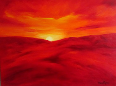 """Painting titled """"Sundown in the Moun…"""" by Mary Papas, Original Art, Oil"""