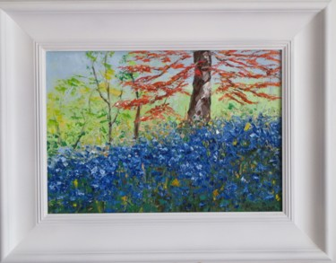 """Painting titled """"A Field of Bluebells"""" by Mary Papas, Original Art, Oil"""
